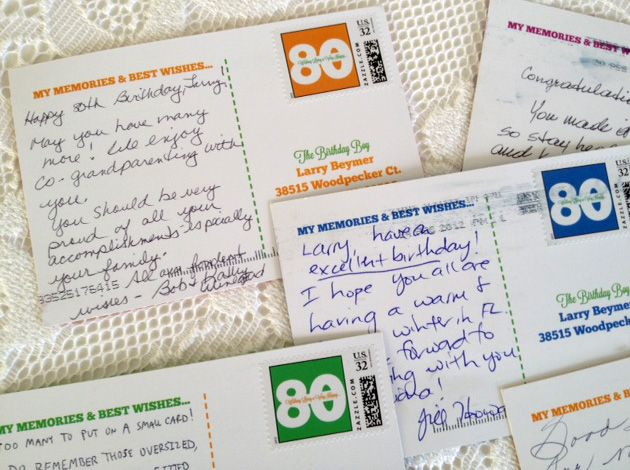 Milestone birthday idea: Birthday postcards for 80th, 75th, 70th, 65th, 60th || Free simple and clever craft ideas, sewing patterns, templates and printables || Merriment Design