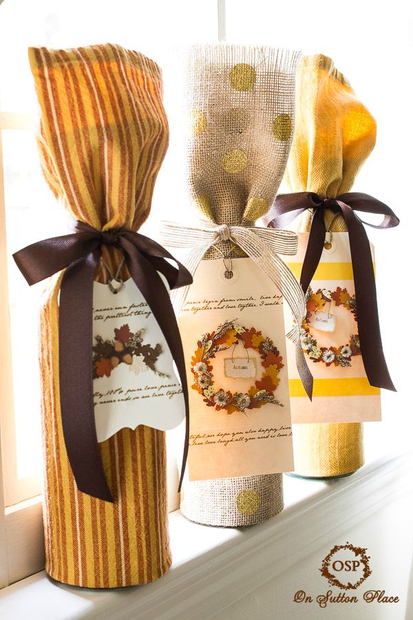 No Sew Wine Bottle Gift Wrap with handmade cards ~ easy and fast! Directions included in the post tell you exactly how to fold the towel.