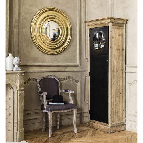 Espejo convexo de madera dorada Ø 90cm ODÉON