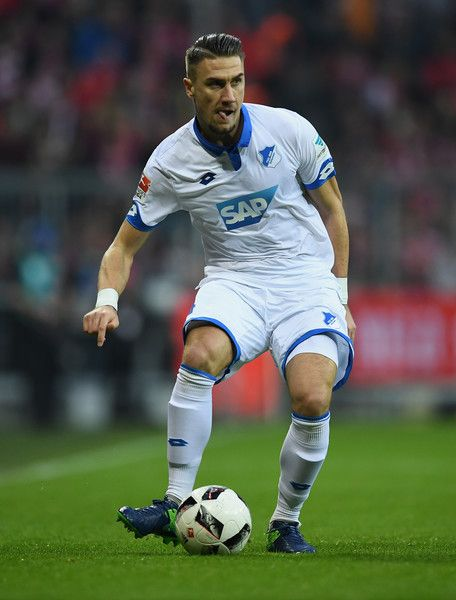 Ermin Bicakcic of Hoffenheim controls the ball during the Bundesliga match between Bayern Muenchen and TSG 1899 Hoffenheim at Allianz Arena on November 5, 2016 in Munich, Germany.