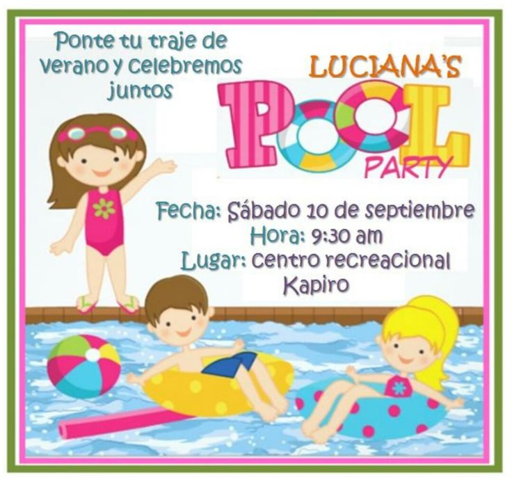 Fiesta piscina pool party invitaci n tarjeta de - Ideas para cumpleanos en piscina ...