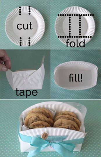 So cute... yet so simple... used the fancy colored plates !!! DIY Cookie Basket Made From A Paper Plate  ☆ HAVE A BLESSED Day ☆  ┊ ┊ ┊ ☆ Follow me ---> www.facebook.com/tonja.zickefoosebusch ┊ ┊ ★Visit my web site ---> http://tbusch.SBCRotator.com/ ┊ ☆Join my Group--> www.facebook.com/groups/TeamSkinny01/ ★Join my Team-->http://TeamTonja.WinWithSBC.com/