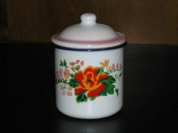 Lovely Floral Tin Cup with Lid Bumper Harvest