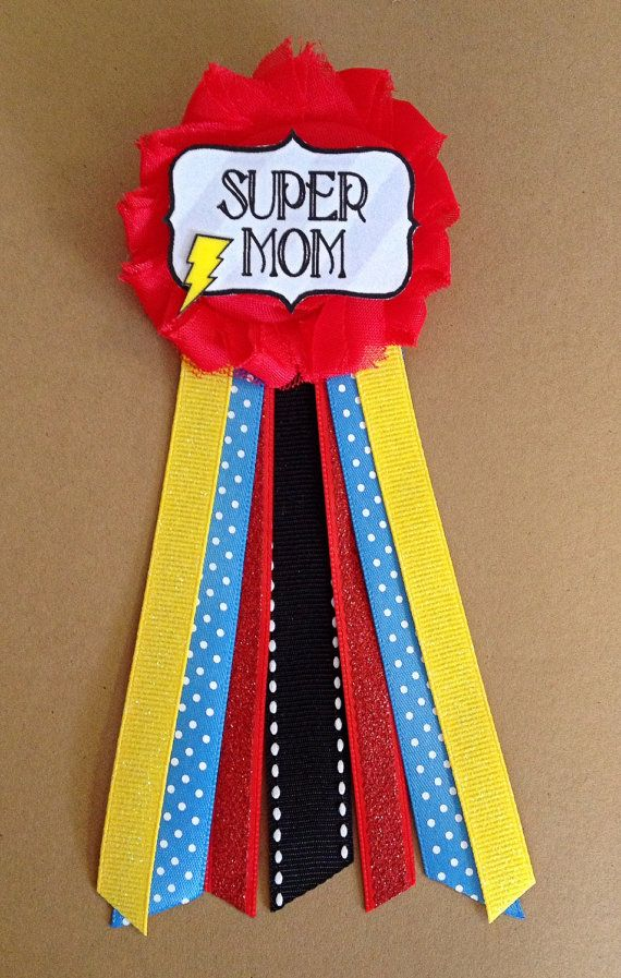 Super Mom Action Baby Shower Mommy-to-be Flower Ribbon by afalasca