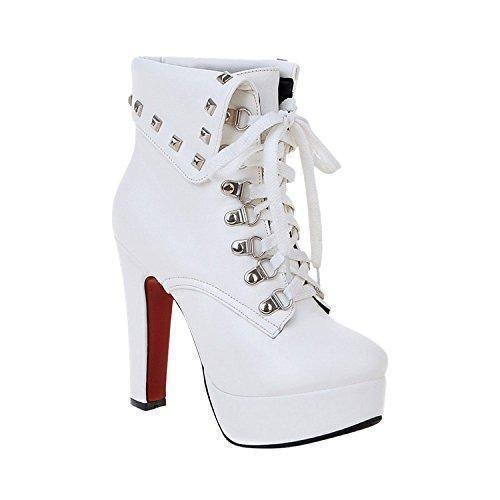 Oferta: 32.9€. Comprar Ofertas de Minetom Mujer Otoño Invierno Botines Remaches Zapatos De Cordones Zapatos Plataforma Tacón Alto Martin Boots Blanco EU 38 barato. ¡Mira las ofertas!