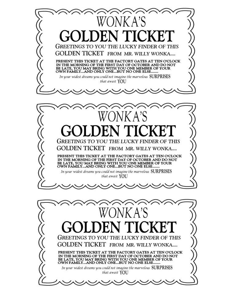 Willy Wonka Golden Ticket Invitations Charlie and The Chocolate - printable ticket template free
