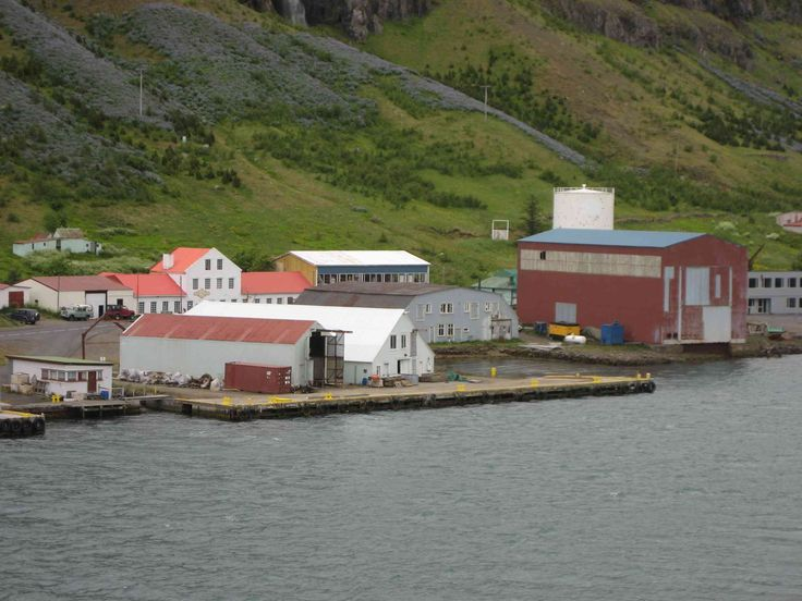 A view of the Taeniminjasafn Austurlands Museum in Seydisfjordur, Iceland, from aboard ship.