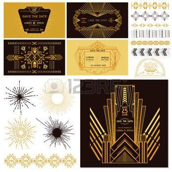 art deco wedding invitation: ART DECO VEYA Gatsby Parti Seti - Düğün için, Party Dekorasyon, Scrapbooking - vektör içinde Çizim