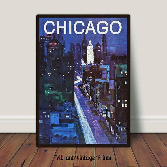 Chicago Cityscape Urban Abstract Night Vintage Travel
