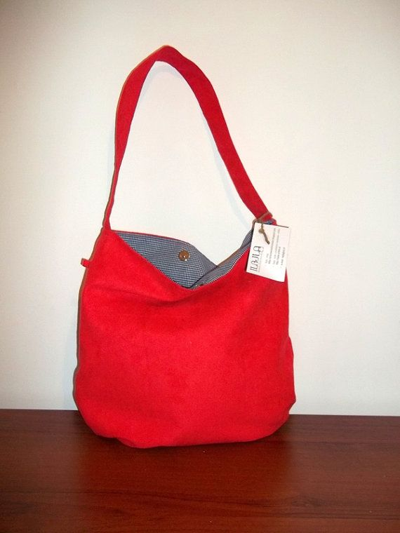 HOBO Shoulder Bag Eco suede Cotton teens fashion Red Bag by ILAJLA, $37.00