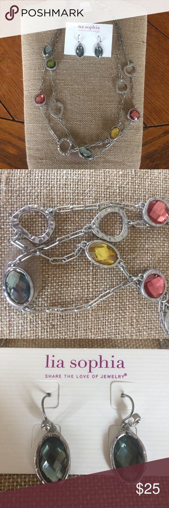 "NWT Lia Sophia necklace and earrings Beautiful NWT Lia Sophia necklace and earring set. Chain is 42"" long. Lia Sophia Jewelry"