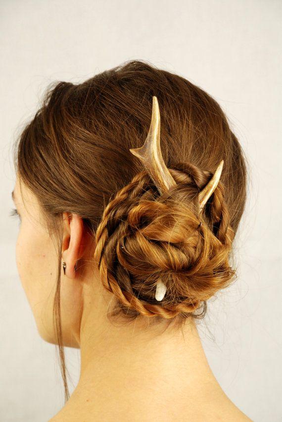 Deer hair stick, antler accessory pin bone horn roe friendly haar burr pagan celtic animal outstanding cruelty free sweet unusual headdress