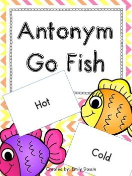 Antonym Go Fish! This is a fun game to get students reading antonyms and…