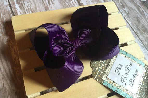 Dark purple hair bow  plum purple hair bow by PinkHairBowBoutique