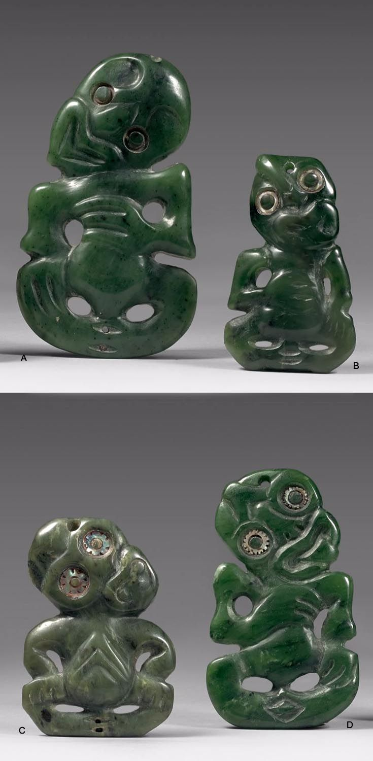 New Zealand | Four 'Hei-Tiki' pendants from the Maori people; nephrite || A) H: 12 cm, B) H: 10 cm, C and D) H: 8 cm. | A) Est. 10'000 - 15'000€ and Lots B, C, D sold as a single lot, Est 12'000 - 15'000€ ~ (June '15)