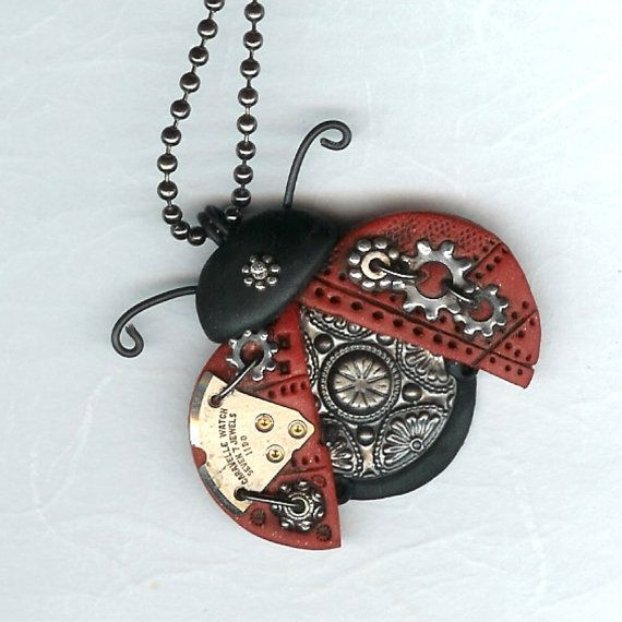 Steampunk Ladybug Necklace Polymer Clay Jewelry by freeheart1, $24.00 #Polymer Clay Jewelry