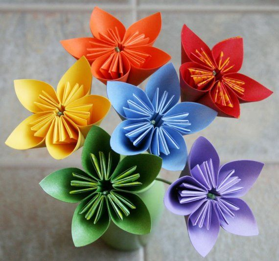 colorfull origami flowers I love making these