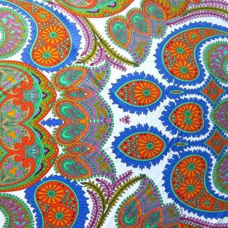 The Fabric Fairy Large Colorful Paisley on White Nylon Spandex Swimsuit Fabric