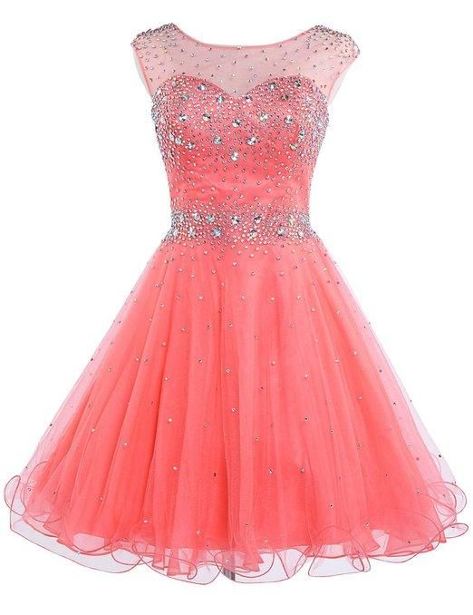 Gold Homecoming Dresses Pretty Coral Homecoming Short Dresses Stones Illusion Neck Hollow Tulle Graduation Gowns A Line Sweet 16 Dress Vestidos Cortos Fiesta Gowns Dresses From Adminonline, $79.58| Dhgate.Com