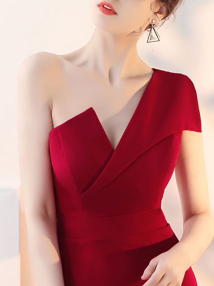 One Shoulder Burgundy Sheath Party Slit Dress