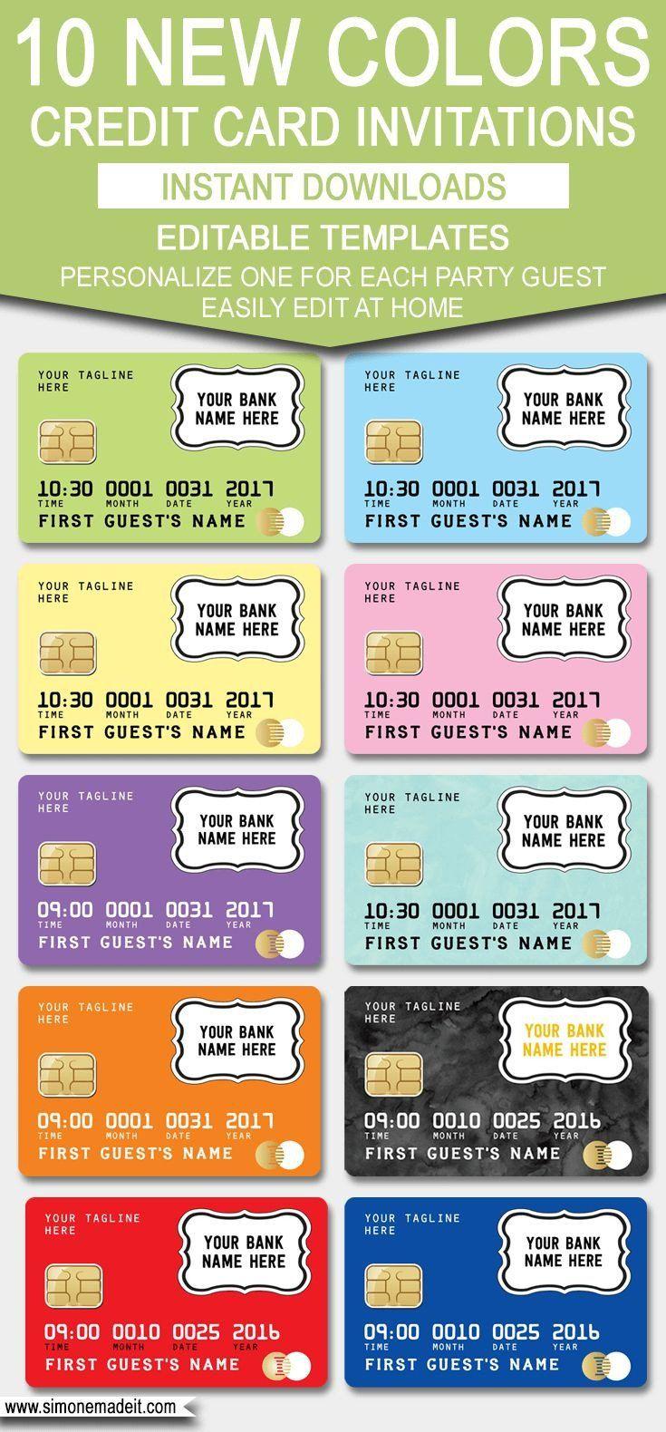 Credit Card Invitation Template Beautiful Credit Card Invitation Template Carddesigntemplatefree Party Invitations Diy Invitation Cards Kids Credit Card
