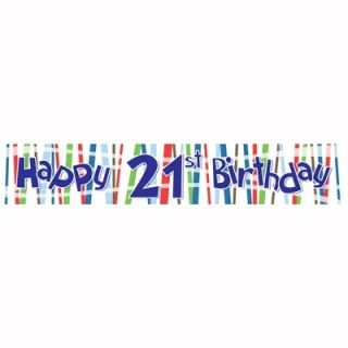 FS501010 - Laminated Banner Birthday 21st Banner Laminated 21st Birthday Boy (180cm x 32cm). Please note: approx. 14 day delivery