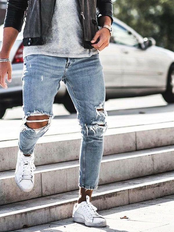 Ripped Jeans Outfit, Jeans Levi's, Ripped Jeans Men, Slim Jeans, Jeans For Men, Biker Jeans Men, Streetwear, Denim Vintage, Light Blue Jeans