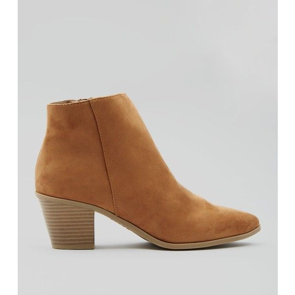 New Look Tan Suedette Western Ankle Boots (€29) ❤ liked on Polyvore featuring shoes, boots, ankle booties, tan, western ankle boots, ankle boots, western booties, ankle cowboy boots and short cowgirl boots