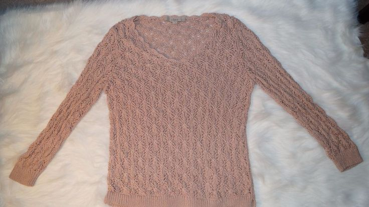 Ann Taylor LOFT v-neck open knit nude beige LP petite sweater | eBay