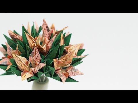 Geld falten Blumen: Tulpen Blumentopf aus Geldsche…
