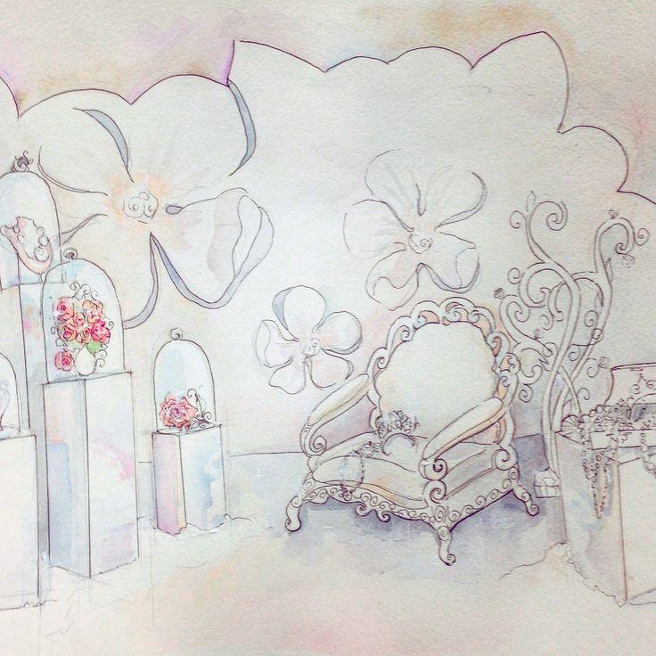 Эскиз оформления фотозоны. Концепция ювелирная свадьба.