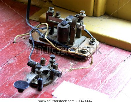 Telegraph sender and receiver in railroad telegraph office - stock photo