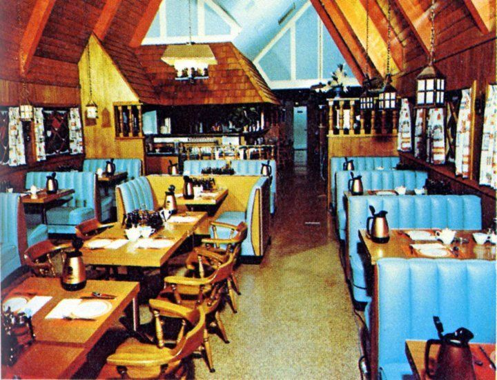 I remember when IHOPS were chalet shaped buildings and looked like this inside. Image found on awesome blog: http://www.ellenbloom.blogspot.com/