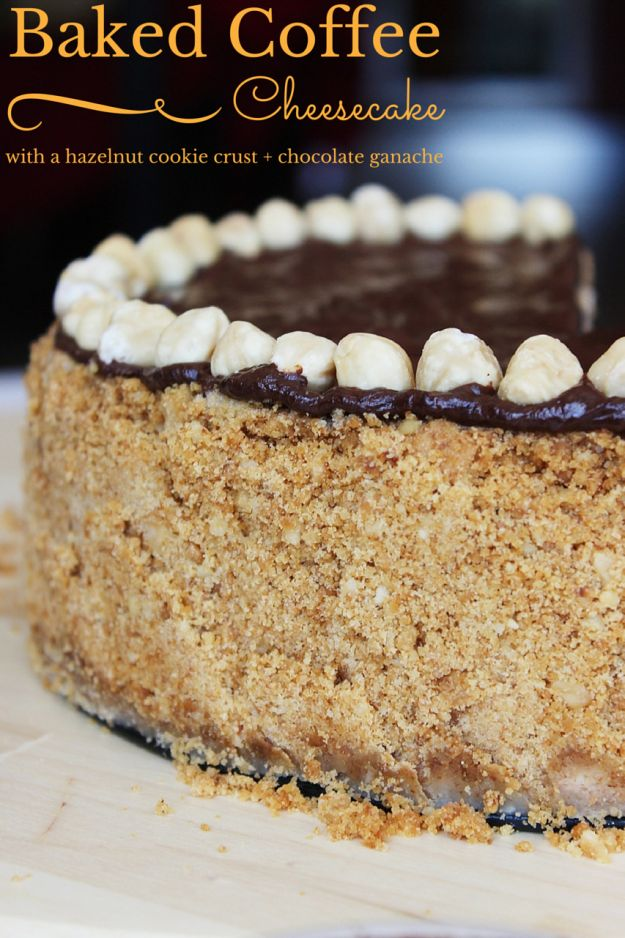 Baked Coffee Cheesecake Recipe on top of a cookies and hazelnut crust and topped with rich decadent dark chocolate ganache! http://www.flavoursandfrosting.com/baked-cheesecake-recipe-made-with-coffee-and-hazelnuts/