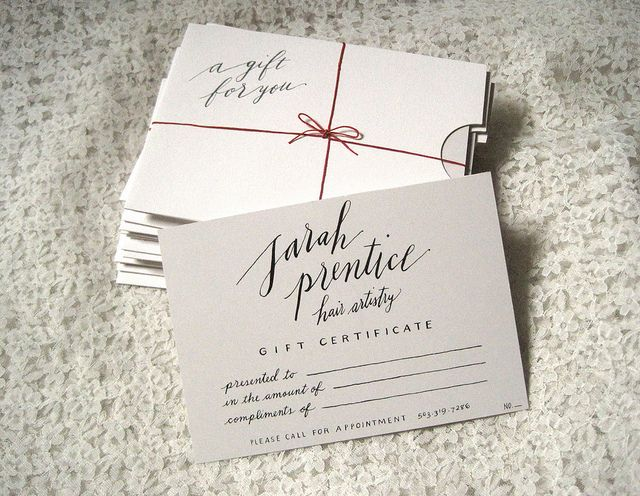 Calligraphy gift certificate design ideas pinterest