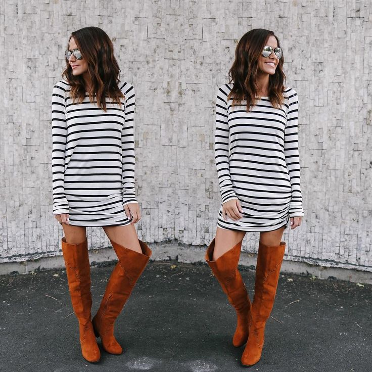 #fall #outfits stripped dress long brown boots