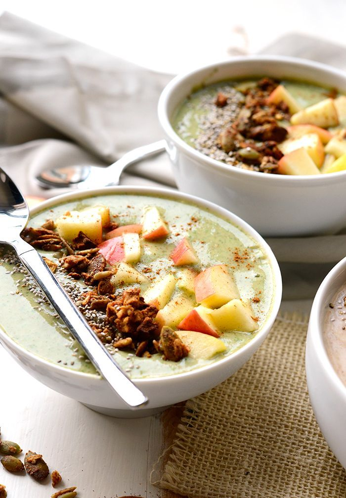10 Smoothie Bowls to inspire your mornings- Apple Pie Smoothie Bowls from @fitfoodiefinds!