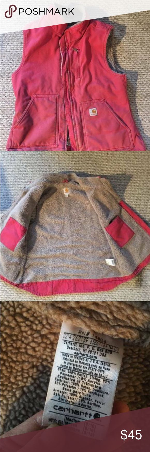 Women's Carhartt Sandstone Mock Neck Vest Pink vest, excellent condition. Size medium - perfect over a bulkier jacket. Carhartt Jackets & Coats Vests