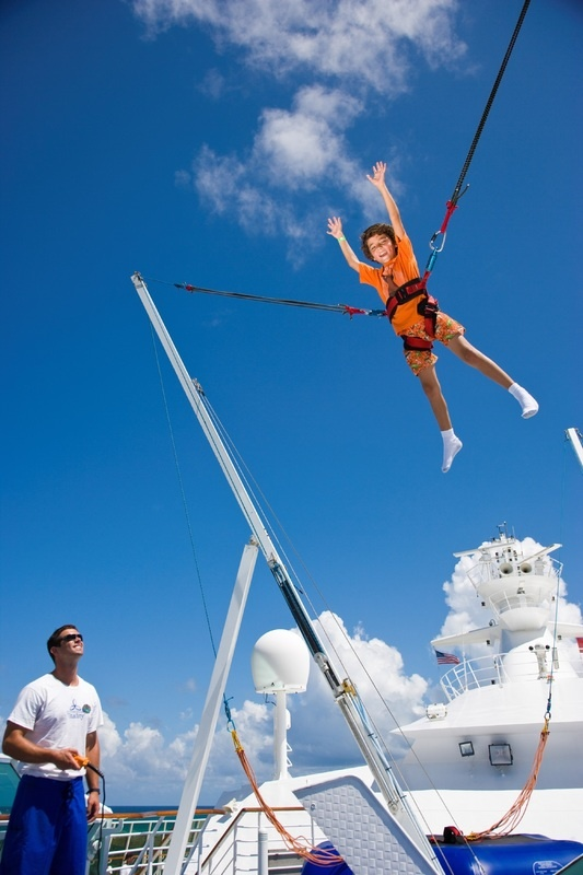 Bungee jumping onboard Royal Caribbean Enchantment of the Seas.