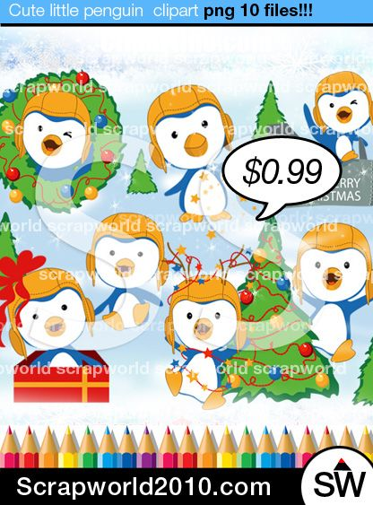Cute little funny penguin christmas clipart winter theme.Christmas Penguin for cards and invitations. High quality. Made in Illustrator.