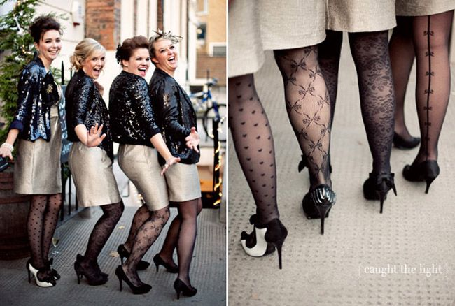 How cute is this bridal party? We love their entire look: sheer patterned tights+sparkly jackets=perfection! by Caught the Light