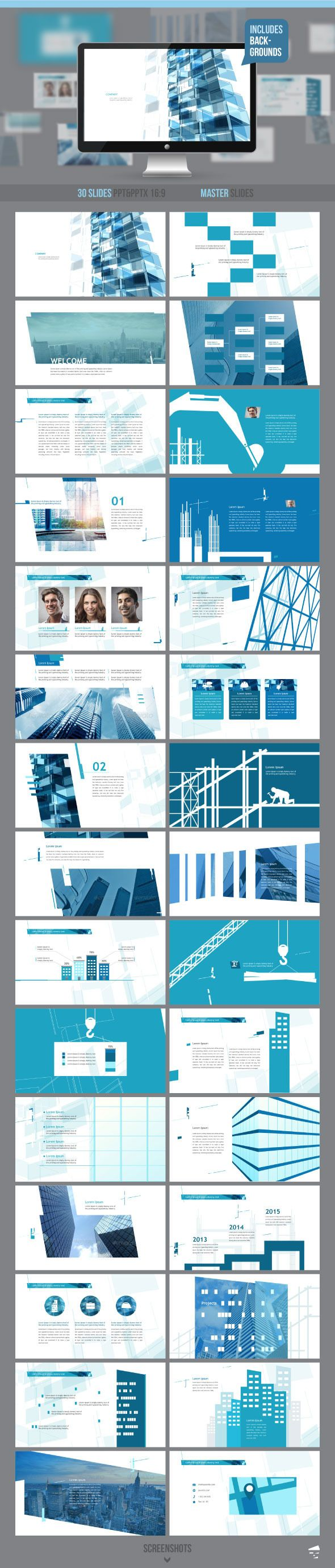 Construction professional presentation - Business PowerPoint Templates                                                                                                                                                                                 Mais