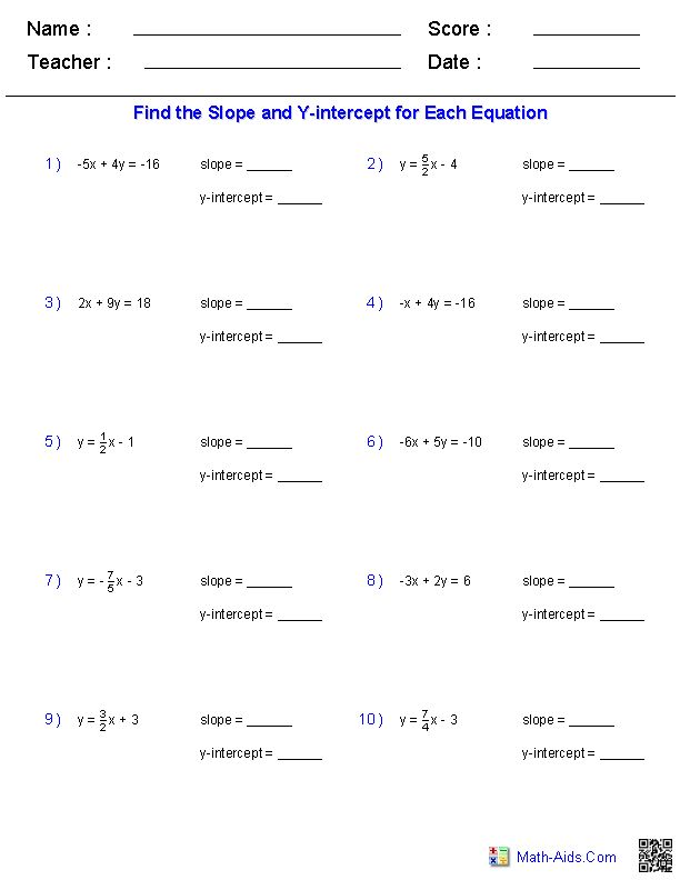 Finding Slope And Y Intercept From A Linear Equation