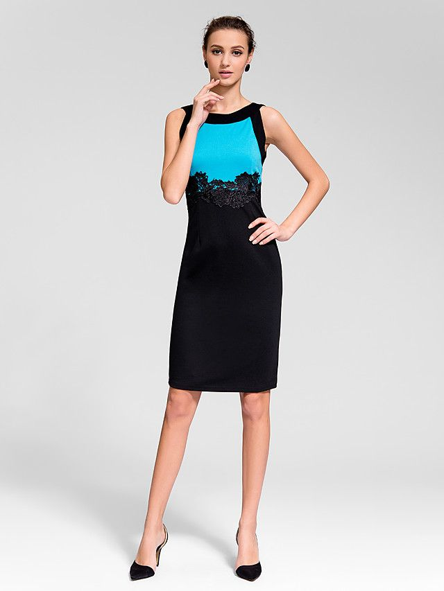 Sheath/Column Jewel Knee-length Polyester Semi-Formal Dress - EUR €18.17