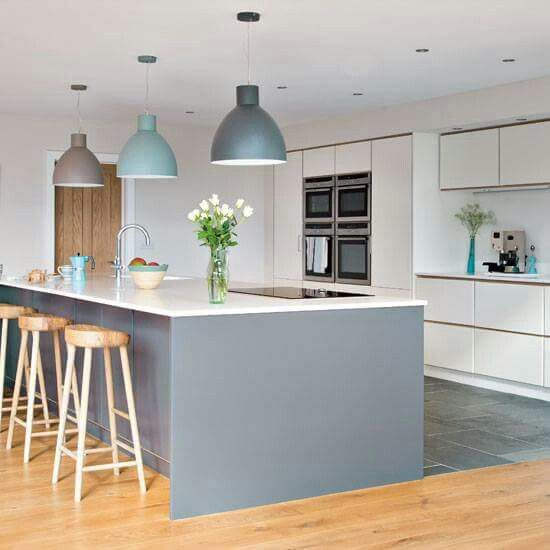 Blue kitchen - interesting pendant lights