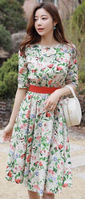 StyleOnme_Floral Print Ribbon Waist Tie Flared Dress #floral #ribbon #dress #feminine #koreanfashion #kstyle #kfashion #springtrend #dailylook