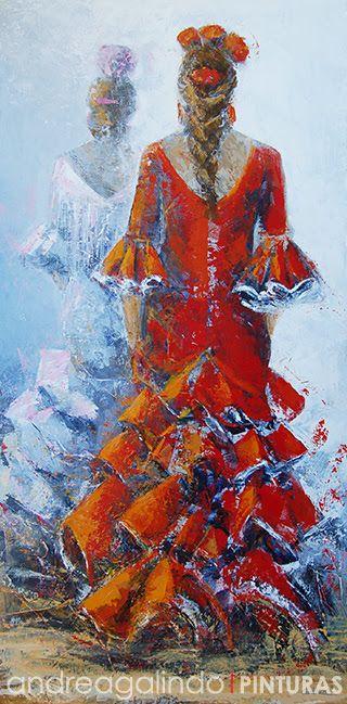 Andrea Galindo. Pintura: CARMEN Y ANA  VAN A LA FERIA
