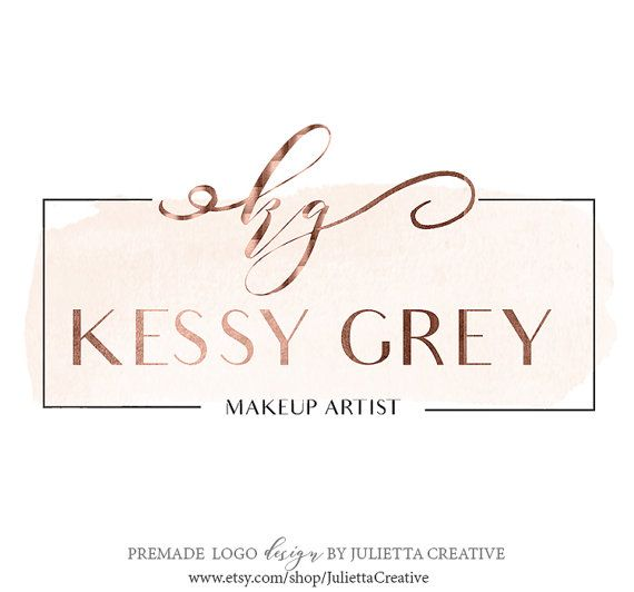 Beauty Logo, Premade Watercolor Logo Design, Rose Gold Logo, Modern Calligraphy logo, Makeup artist logo, Branding logo design