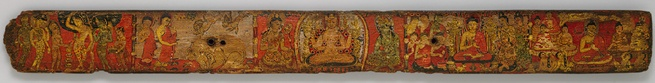 Bookcover with scenes from the life of the Buddha, ca. first half of 10th century - India or Nepal  Ink and color on wood, with metal insets -  2 1/2 x 22 3/8 in. (6.4 x 56.8 cm)