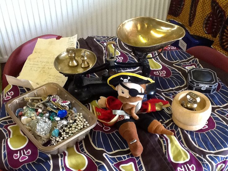 Weighing pirate treasure using old style balance scales inspired by @HilaryWhite3